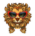 glam lion with red sunglasses vector image