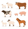 animals on farm lamb piglet cow and sheep goat vector image