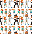 Seamless boys in different costume vector image vector image