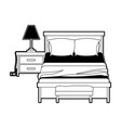 bedroom with lamp over nightstand black color vector image