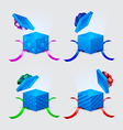 four gift boxes and flying cap with ribbons and vector image