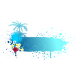 Grunge blue banner with palms vector image