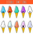 Set of 10 colored doodle ice cream with emotions vector image