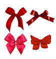 set of realistic red bows vector image