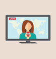 Television anchorwoman at studio during live vector image