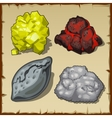 Volcanic rocks and gems set of four items vector image