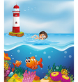 A boy swimming at the beach with a lighthouse vector image
