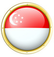 singapore flag on round button vector image