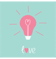 Light bulb with heart inside Idea concept Love vector image