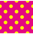 Tile yellow polka dots on pink background vector image