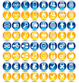 32 Blue and Orange icons vector image