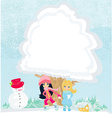 girls are playing in a winter day vector image vector image