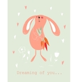Bunny with carrots card vector image
