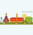 burlington skyline with color buildings and blue vector image
