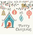 Christmas birds greeting card vector image