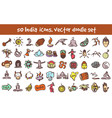 doodle india icons set vector image