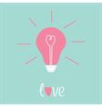 Light bulb with heart inside Idea concept Love vector image