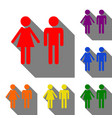 male and female sign set of red orange yellow vector image