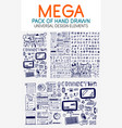 mega collection of hand drawn technology vector image