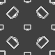 monitor icon sign Seamless pattern on a gray vector image