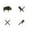 Set of steak house butcher house and meat tools - vector image