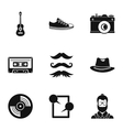 Hipster culture icons set simple style vector image