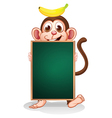 A monkey with a banana on his head holding an vector image vector image