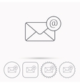 Envelope mail icon Email message with AT sign vector image