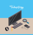computer with smarphone and smartwatch technology vector image