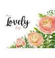 floral watercolor card design pink peach rose vector image