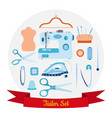set of objects for sewing handicraft and taylor vector image