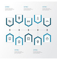 transportation outline icons set collection of vector image