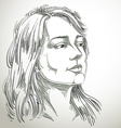 portrait of attractive pensive woman thinking vector image