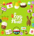egg hunt lettering postcard vector image