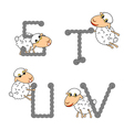 Design ABC with funny cartoon sheep vector image