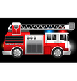3D of a Red Fire and Rescue truck with flashing vector image