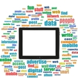 tablet pc in social media words computer networks vector image vector image