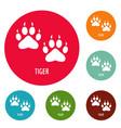 tiger step icons circle set vector image