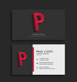 clean dark business card with letter P vector image