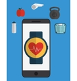 Smartphone and fitness icon set design vector image