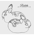 Rabbits sketch vector image
