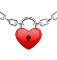 red shiny heart lock shape on chain vector image vector image