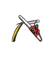 Chainsaw Straight Razor Crossed Woodcut vector image
