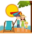 Family sun chair umbrella icon Summer and vector image
