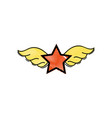 grated star with wings rock symbol art vector image