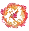 Hand drawn bird in the wreath vector image