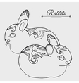 Rabbits sketch vector image