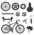 Set of bicycle parts isolated icons black vector image