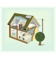 isometric house cutaway icon vector image