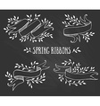 Set of chalk spring ribbons with leaves vector image